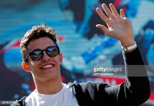 Spanish moto GP riders Dani Pedrosa Aleix Espargaro and Maverick Vinales attend a tribute for motorcycling legend Angel Nieto at the Santiago...