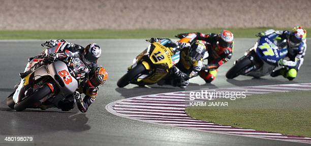Spanish Moto2 driver Esteve Rabat of Marc VDS Racing Team steers his bike during the Moto2 final race of the Qatar Grand Prix on March 23 2014 at the...