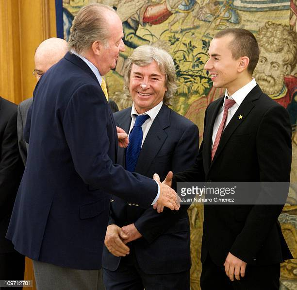 Spanish MotoGP champion Jorge Lorenzo is received by King Juan Carlos I of Spain at Zarzuela Palace on March 2 2011 in Madrid Spain