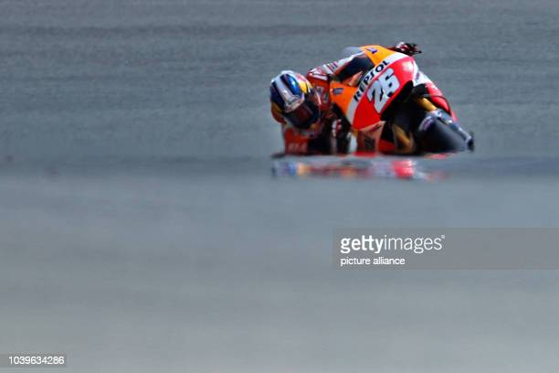 Spanish MotoGP rider Dani Pedrosa of team Honda Repsol in action during the qualifying of the motorcycling Grand Prix of Germany at Sachsenring in...