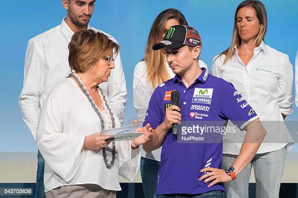 Spanish MotoGP rider Jorge Lorenzo attends the handover ceremony of the Podium scholarships held in Madrid Spain 28 June 2016 Photo Oscar...