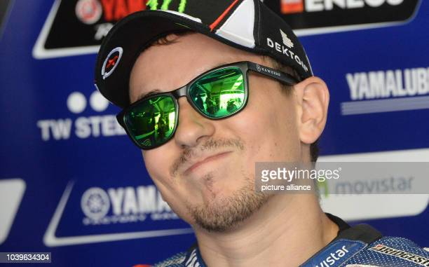 Spanish MotoGP rider Jorge Lorenzo of Movistar Yamaha Team is seen prior to the qualification race of the motorcycling Grand Prix of Germany at the...