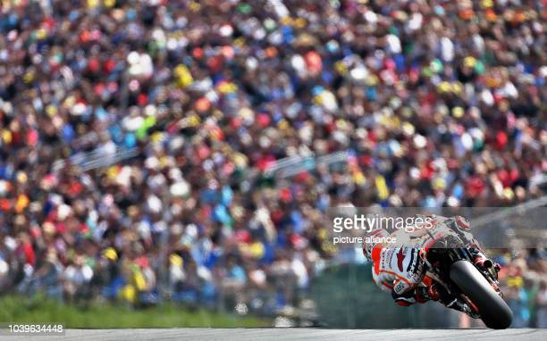 Spanish MotoGP rider Marc Marquez of team Honda Repsol in action during the qualifying of the motorcycling Grand Prix of Germany at Sachsenring in...