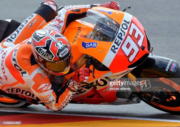 Spanish MotoGP rider Marc Marquez of the Repsol Honda team in action during the qualifying session at the Sachsenring circuit in HohensteinErnstthal...