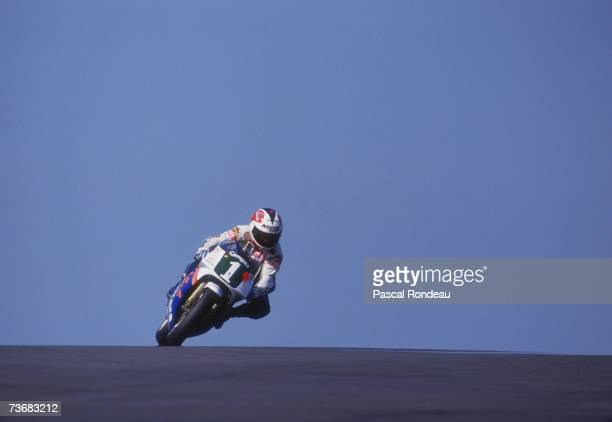Spanish motorcycle racer Alfonso 'Sito' Pons Ezquerra competing on a Honda at the 1989 British Grand Prix at Donington Pons won the race to become...