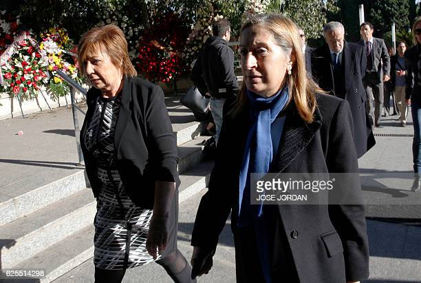 Spanish MP Celia Villalobos and president of the Spanish Parliament Ana Pastor arrive to attend the funerals for Spanish senator Rita Barbera in...