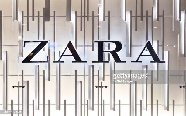 Spanish multinational clothing design retail company by Inditex Zara store and logo seen in Barcelona