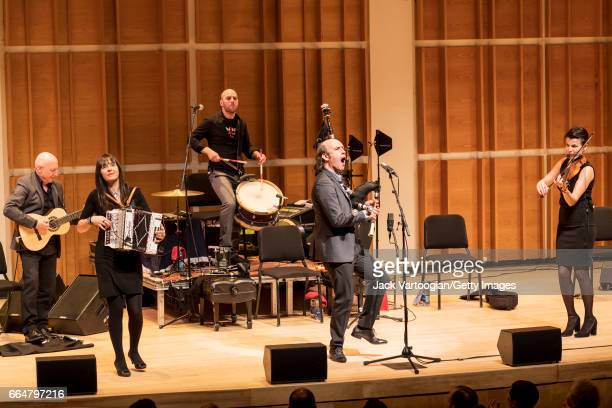 Spanish musician Carlos Nunez plays gaita with his ensemble at a World Music Institute concert at Merkin Concert Hall New York New York March 18 2017...