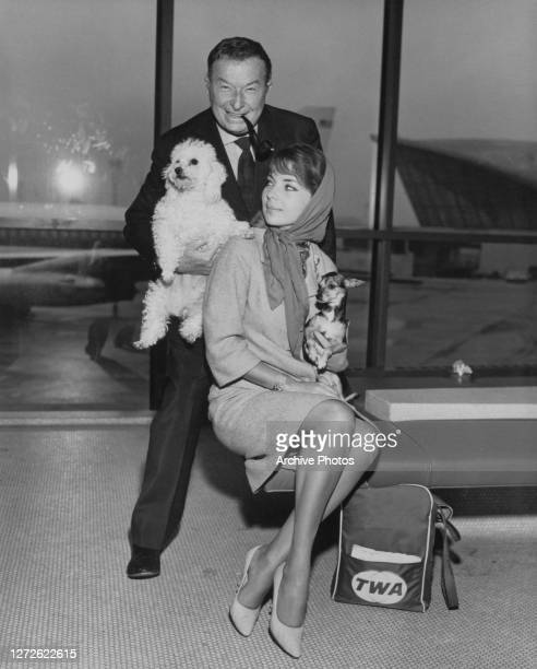 Spanish musician Xavier Cugat with his wife American singer and actress Abbe Lane and their two dogs, a Poodle and a Chihuahua, at an airport, circa...