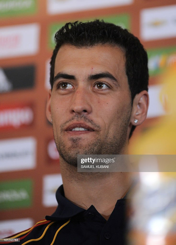 Spanish national football player Sergio BUSQUETS answers questions during a press conference on May 28, 2010, ahead of the team's training camp in Austria before of the World Cup 2010 in South Africa. Spain's national football team arrived in Austria today for a week-long training camp, during which it will also play two warm-up matches.