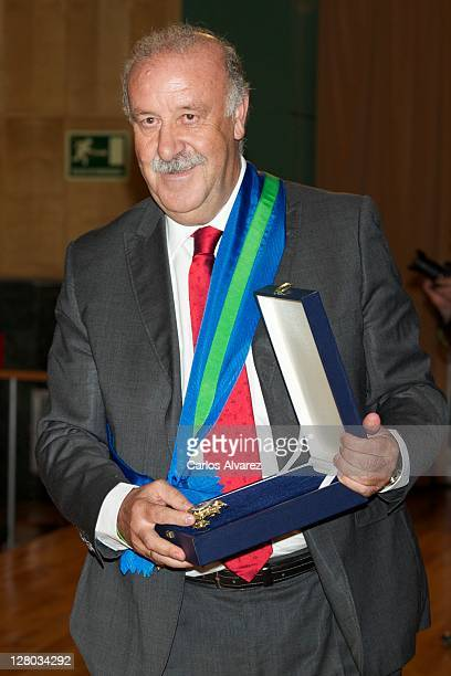 Spanish national football team coach Vicente Del Bosque receives 'Real Orden del Merito Deportivo' award on October 5 2011 in Madrid Spain