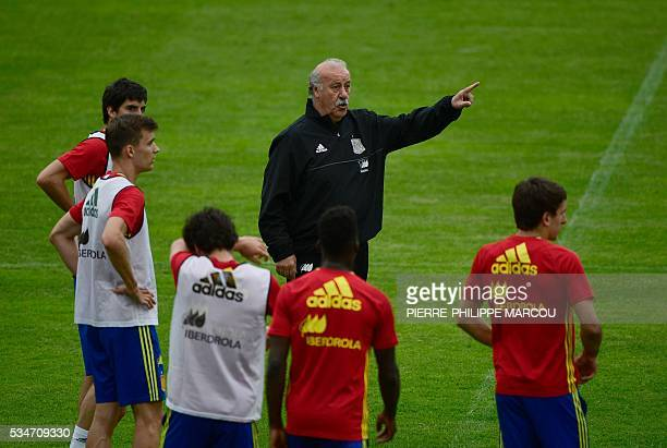 Spanish national football team head coach Vicente del Bosque gestures as he speaks to his players during a training session in Schruns on May 27,...