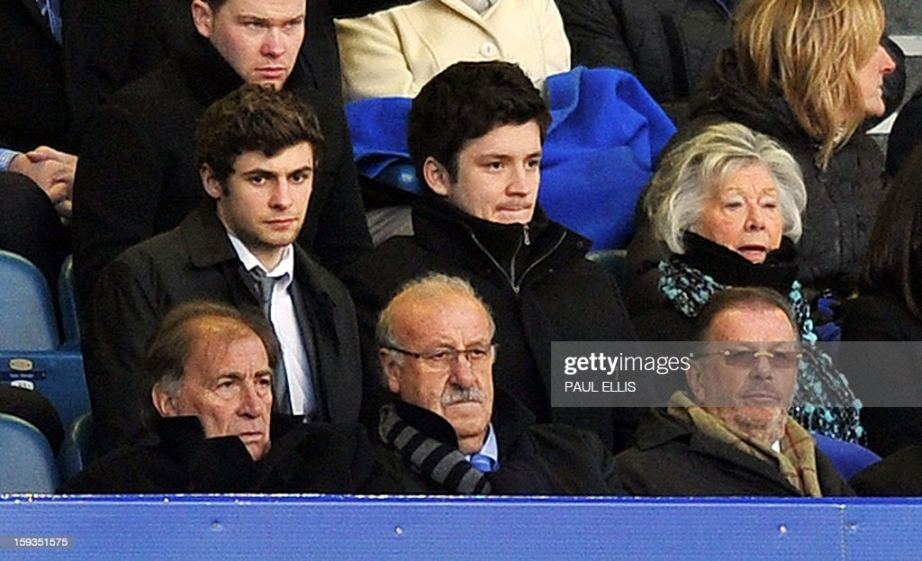 """Spanish national football team manager Vicente del Bosque Gonzalez (C) watches the English Premier League football match between Everton and Swansea City at Goodison Park in Liverpool on January 12, 2013. USE. No use with unauthorized audio, video, data, fixture lists, club/league logos or """"live"""" services. Online in-match use limited to 45 images, no video emulation. No use in betting, games or single club/league/player publications."""
