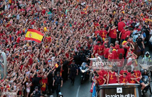 Spanish national football team players parade through the streets of Madrid on July 2 a day after winning the Euro 2012 football Championships 40...