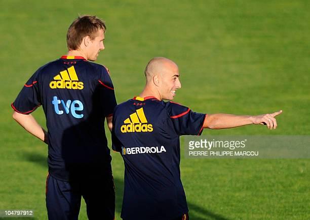 Spanish national football team's Borja Valero gestures during a training session on October 5 2010 in Las Rozas near Madrid AFP PHOTO/ PIERREPHILIPPE...