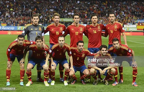 Spanish national football team's players forward Pedro forward David Silva midfielder Andres Iniesta midfielder Xavi Hernandez midfielder Cesc...