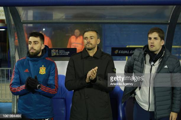 Spanish national team coach Luis Enrique watches the UEFA Nations League week 5 match between Croatia and Spain at Maksimir Stadium in Zagreb Croatia...