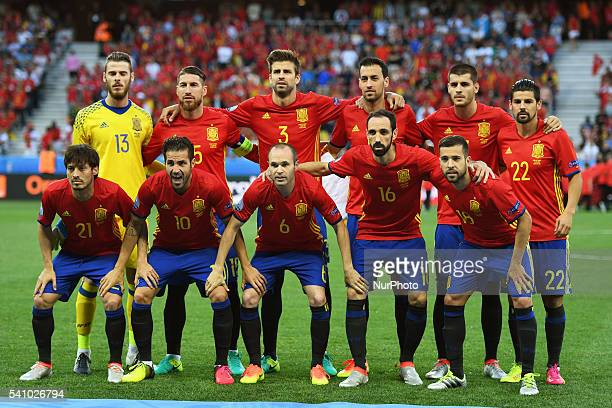 Spanish national team poses for photo during the UEFA Euro 2016 Group D match between Spain and Turkey at Stade de Nice in Nice France on June 17 2016