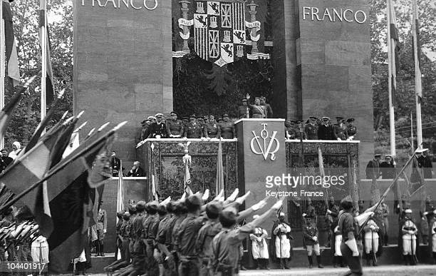 Spanish Nationalist troops parading in front of the Caudillo in Madrid to celebrate the victory of General FRANCO and his supporters over the Spanish...