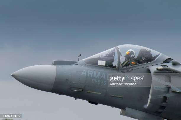 Spanish Navy EAV8B Harrier II takes off during the International Air Tattoo at RAF Fairford on July 21 2019 in Fairford England The Royal...