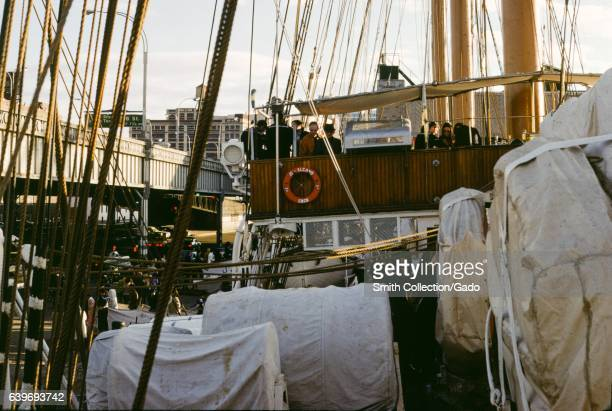 Spanish navy training ship Juan Sebastian Elcano a tallship originally built in 1928 which is used to train sailors 1965