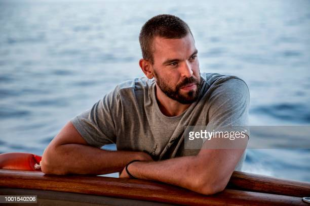 Spanish NBA basketball player Marc Gasol takes part in the rescue mission with the Spanish NGO Proactiva Open Arms on board of the Astral ship in the...