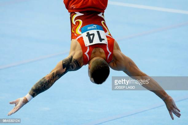 Spanish Nestor Abad competes during the Men's Floor Final Gymnastics event at the XVIII Mediterranean Games in Reus near Tarragona on June 26, 2018.