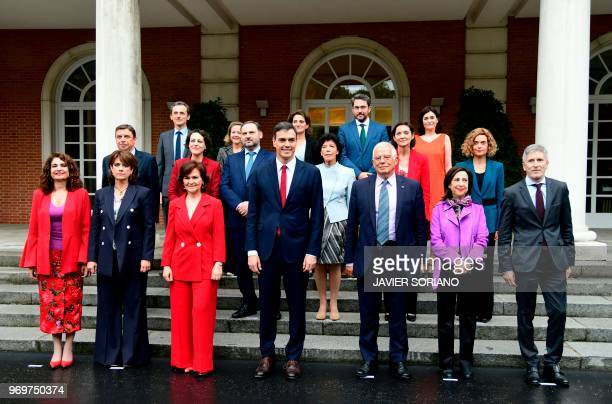 Spanish new government members minister for finance Maria Jesus Montero, minister of justice Dolores Delgado, Deputy Prime Minister and minister of...