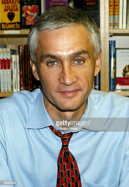 Spanish news anchor Jorge Ramos poses at a signing for his new book No Borders October 18 2002 in Long Beach California