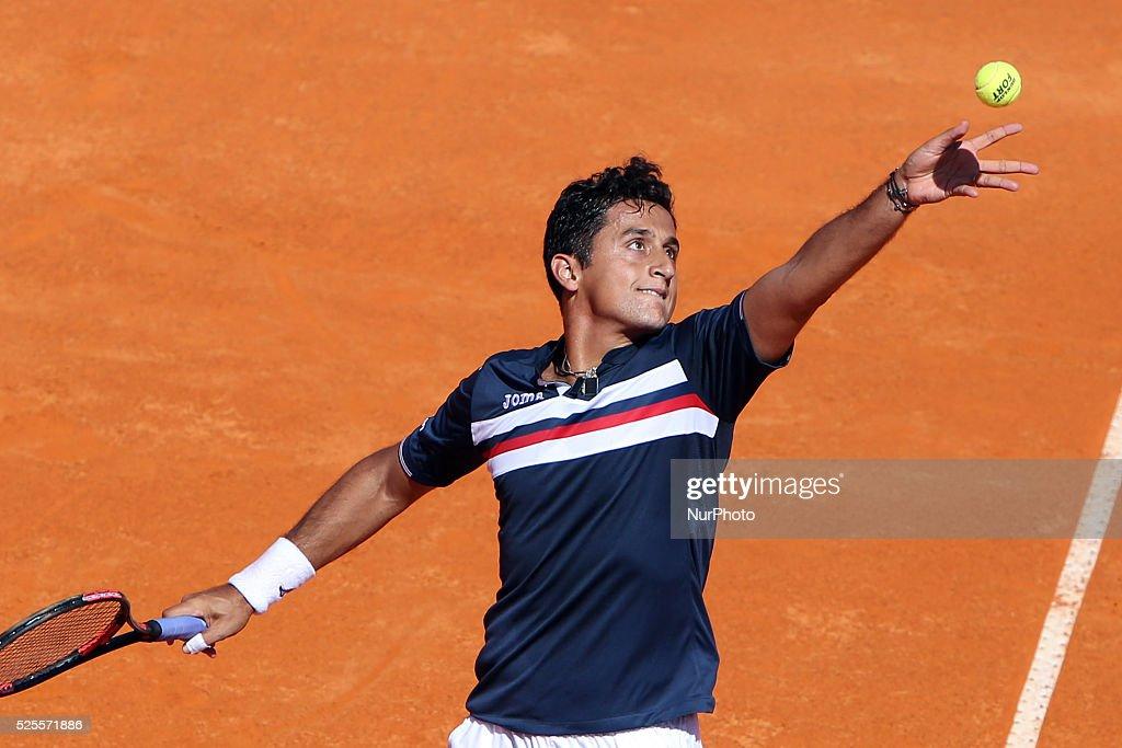 Millennium Estoril Open ATP 250 tennis tournament - Joo Sousa (POR) vs Spanish Nicolas Almagro (ESP) : News Photo
