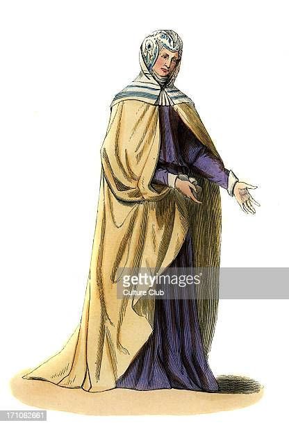 Spanish noble woman 15th century costume Wearing purple dress white cloak a caul and hood traced with blue c 1847 handpainted copy of 15th century...