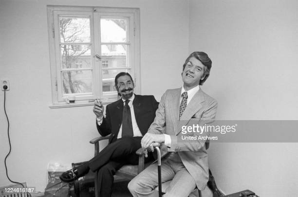 Spanish nobleman and acor Jaime de Mora y Aragon with entertainer Rudi Carrell Germany 1970s