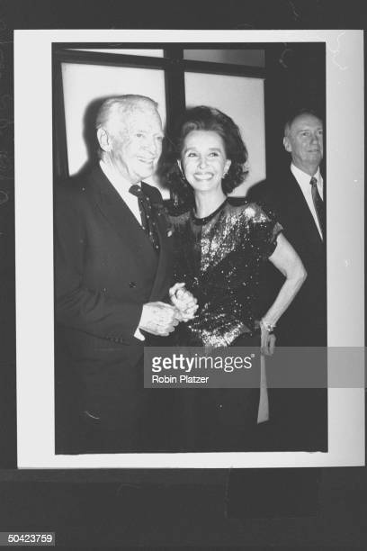 Spanish noblewoman Aline Countess of Romanones chatting w actor Douglas Fairbanks Jr during party at Cafe Society