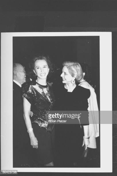 Spanish noblewoman Aline Countess of Romanones chatting w fashion designer Carolina Herrera during party at Cafe Society