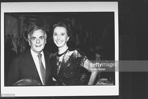 Spanish noblewoman Aline Countess of Romanones posing w author Dominick Dunne during party at Cafe Society