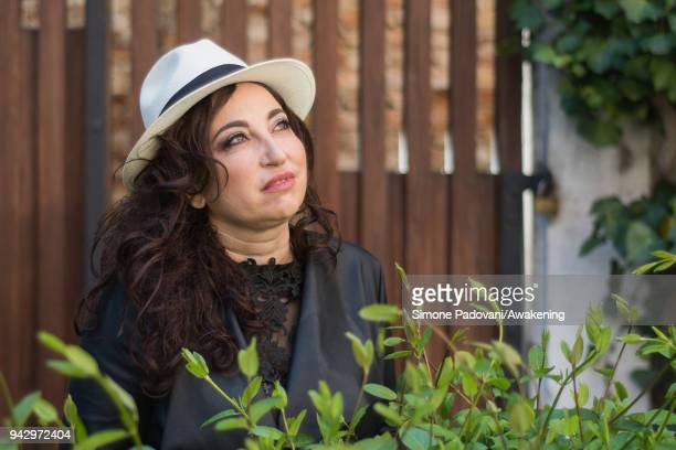 Spanish novelist poet and journalist Eugenia Rico attends a photocall during Incroci di Civiltà International Literature Festival on April 7 2018 in...