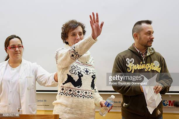 Spanish nurse Teresa Romero and husband Javier Limon attend a meeting with the press before she leaves Carlos III Hospital after being discharged on...