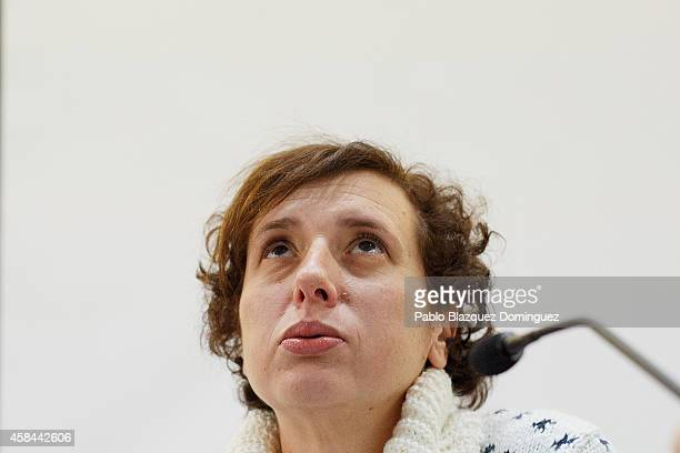 Spanish nurse Teresa Romero attends a meeting with the press before she leaves Carlos III Hospital after being discharged on November 5 2014 in...