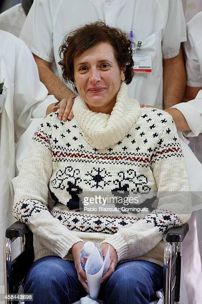 Spanish nurse Teresa Romero poses for photographers as she attends a meeting with the press before she leaves Carlos III Hospital after being...