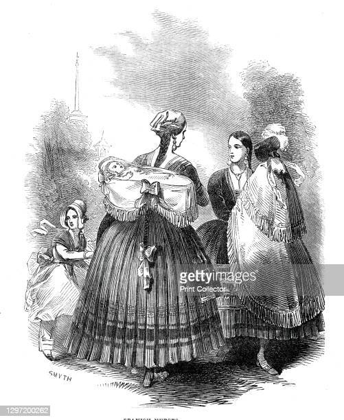 Spanish nurses, 1845. '...the best characteristics will be found in the two groups of wet-nurses, of whom there are hundreds in the Prado promenade....