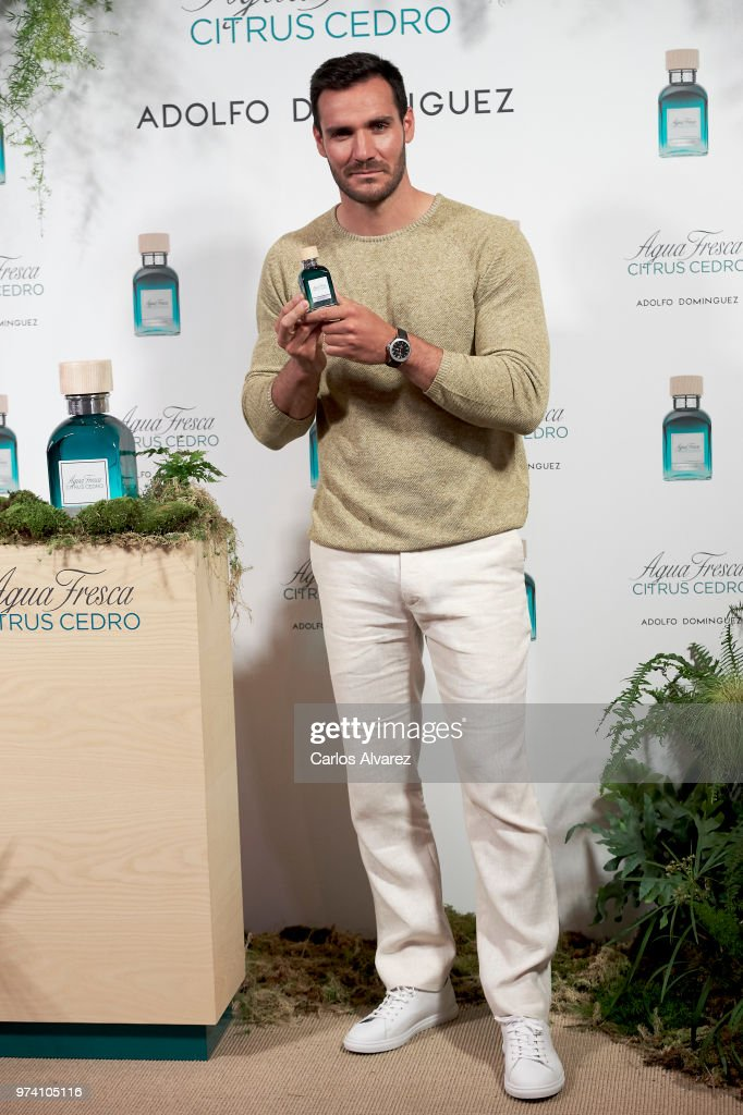 Spanish Olympic Medalist Saul Craviotto presents 'Agua Fresca Citrus Cedro' fragance by Adolfo Dominguez on June 14, 2018 in Madrid, Spain.