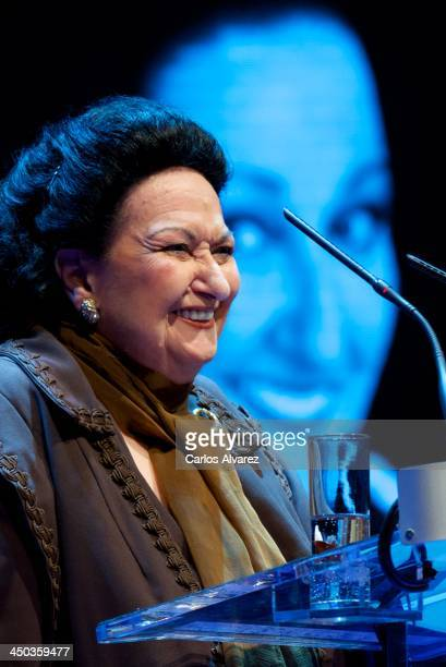 "Spanish Opera singer Montserrat Caballe receives the ""International Medal of The Arts"" award 2012 at the Theater Canal on November 18, 2013 in..."