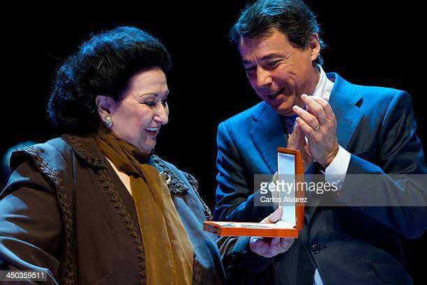 "Spanish Opera singer Montserrat Caballe receives the ""International Medal of The Arts"" award 2012 from Madrid Regional President Ignacio Gonzalez at..."