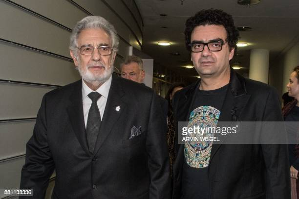 Spanish Opera singer Placido Domingo and Mexicanborn French tenor Rolando Villazon arrive for the 'People in Europe Arts Awards' ceremony in Passau...