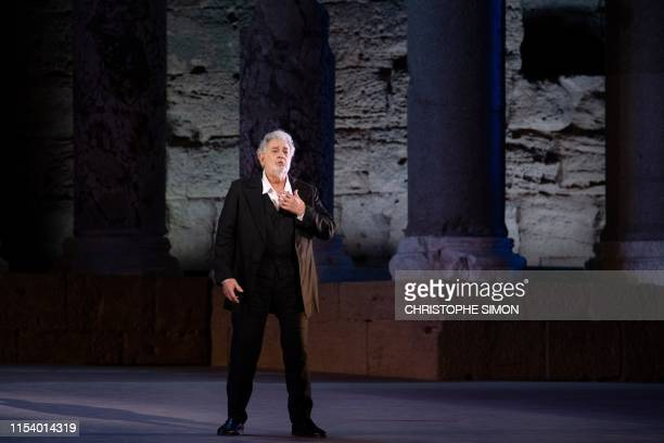 Spanish opera singer Placido Domingo performs on stage during the dress rehearsal of Spanish Night at the 150th Choregie in Orange on 5 July 2019