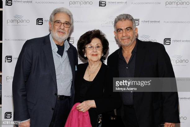 Spanish Opera singer Placido Domingo wife Marta Ornelas and Jose Domingo attend the Pampano Anniversary at Pampano Restaurant on March 11 2014 in New...