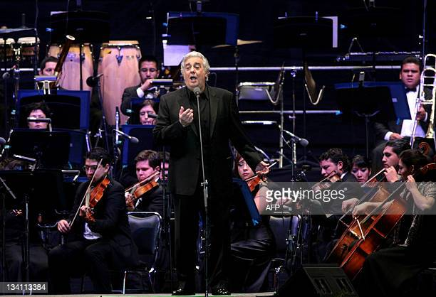 Spanish opera tenor Placido Domingo performs in a concert in Tlaxcala city Tlaxcala State on November 25 2011 AFP PHOTO/Jose Castañares