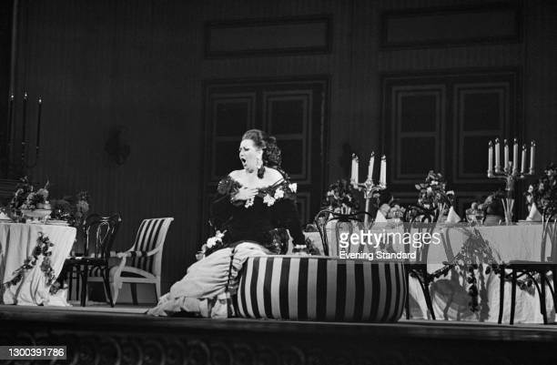 Spanish operatic soprano Montserrat Caballé appears as Violetta in the Verdi opera 'La Traviata' at the Royal Opera House in Covent Garden, London,...