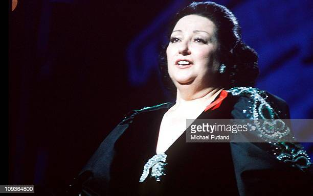 Spanish operatic soprano Montserrat Caballé performing on stage, circa 1985.