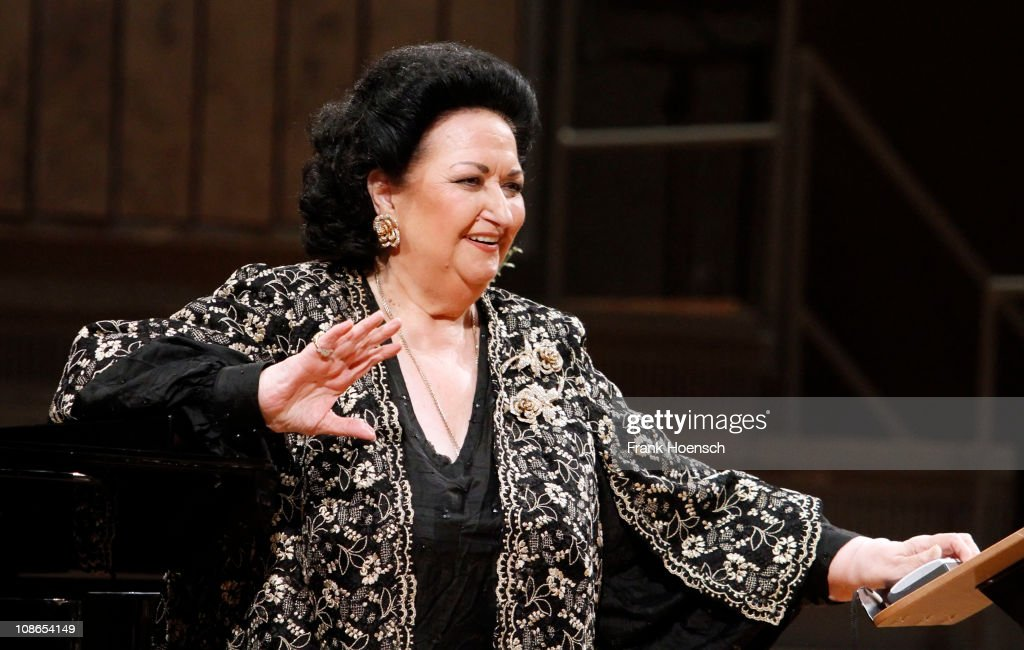 Spanish operatic soprano Montserrat Caballe performs live during a